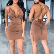 Lovely Sexy Backless Brown Mini Dress