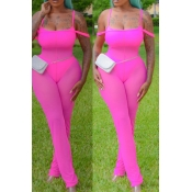 Lovely Sexy See-through Pink One-piece Jumpsuit