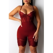 Lovely Sexy Hollow-out Wine Red One-piece Romper