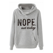 Lovely Casual Letter Printed Grey Hoodie