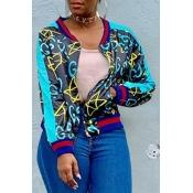 Lovely Casual Printed Dark Blue Jacket