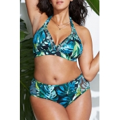 Lovely Printed Green Plus Size Two-piece Swimwear