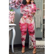 Lovely Sweet Printed Skinny Pink Two-piece Pants S
