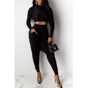 Lovely Casual Crop Top Black Two-piece Pants Set(W