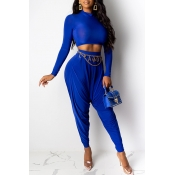 Lovely Casual Crop Top Blue Two-piece Pants Set(Wi
