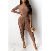 Lovely Casual Crop Top Coffee Two-piece Pants Set(