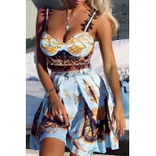 Lovely Sweet Spaghetti Straps Printed Baby Blue Tw