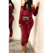 Lovely Leisure Basic Wine Red Two-piece Pants Set