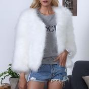 Lovely Casual Winter Short White Coat