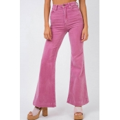 Lovely Casual Flared Pink Pants
