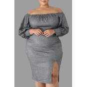 Lovely Casual Slit Grey Knee Length Plus Size Dres