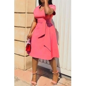 Lovely Casual V Neck Asymmetrical Pink Knee Length