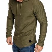 Lovely Casual Hooded Collar Ruffle Army Green Hood