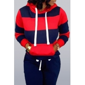 Lovely Casual Hooded Collar Striped Navy Blue Hood