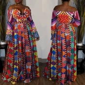 Lovely Casual Printed Multicolor Floor Length Evening Dress