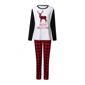 Lovely Christmas Day Printed White Two-piece Pants