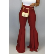 Lovely Casual Flared Wine Red Pants