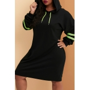 Lovely Casual Hooded Collar Black Knee Length Plus