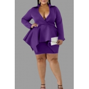 Lovely Casual V Neck Purple Plus Size Two-piece Sk