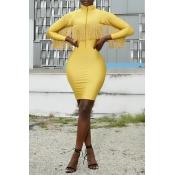 Lovely Sweet Mandarin Collar Tassel Design Yellow