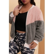 Lovely Casual Patchwork Grey Plus Size Coat