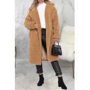 Lovely Trendy Winter Turn-down Collar Apricot Teddy Coat