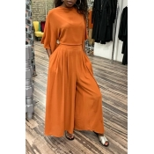 Lovely Casual V Neck Loose Croci Two-piece Pants S
