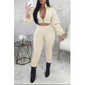 Lovely Street Zipper Design Beige Two-piece Pants