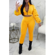 Lovely Street Zipper Design Yellow Two-piece Pants