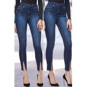Lovely Leisure Slit Skinny Blue Jeans