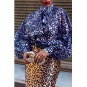 Lovely Casual Leopard Printed Blue Blouse