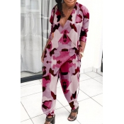 Lovely Trendy V Neck Loose Pink One-piece Jumpsuit