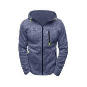 Lovely Casual Hooded Collar Zipper Design Blue Hoodie