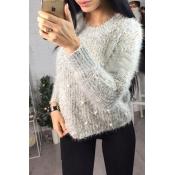 Lovely Sweet Loose Light Grey Sweater