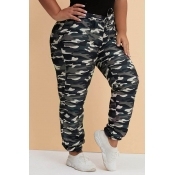 Lovely Trendy Camouflage Printed Green Plus Size P