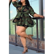 Lovely Casual Camouflage Printed  Plus Size Mini D
