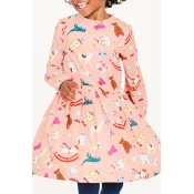 Lovely Sweet Printed Pink Knee Length Girls Dress