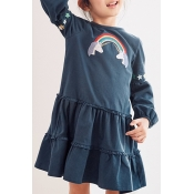 Lovely Sweet Flounce Dark Blue Blue Knee Length Gi