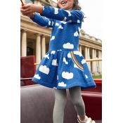 Lovely Sweet Dot Sku Blue Knee Length Dress
