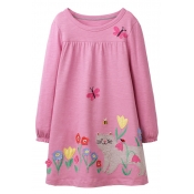Lovely Sweet Cat Pink Knee Length Girls Dress