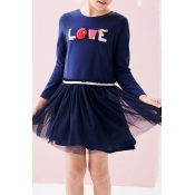 Lovely Sweet Patchwork Dark Blue Knee Length Girls