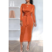 Lovely Casual Knot Design Orange Ankle Length Dres