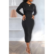 Lovely Casual Knot Design Black Ankle Length Dress