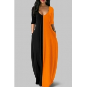 Lovely Casual Patchwork Loose Orange Floor Length