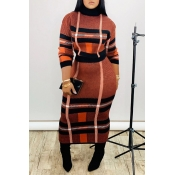 Lovely Casual Turtleneck Plaid Jacinth Two-piece S