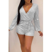 Lovely Trendy V Neck Silver One-piece Romper
