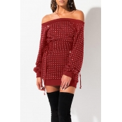 Lovely Casual Hot Drilling Decorative Wine Red Mini Dress