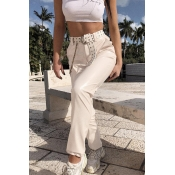 Lovely Casual Basic White Pants(Without Belt)