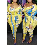 Lovely Casual Printed Yellow Plus Size Two-piece P