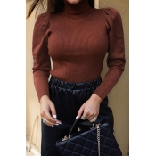 Lovely Casual Turtleneck Brown Sweater